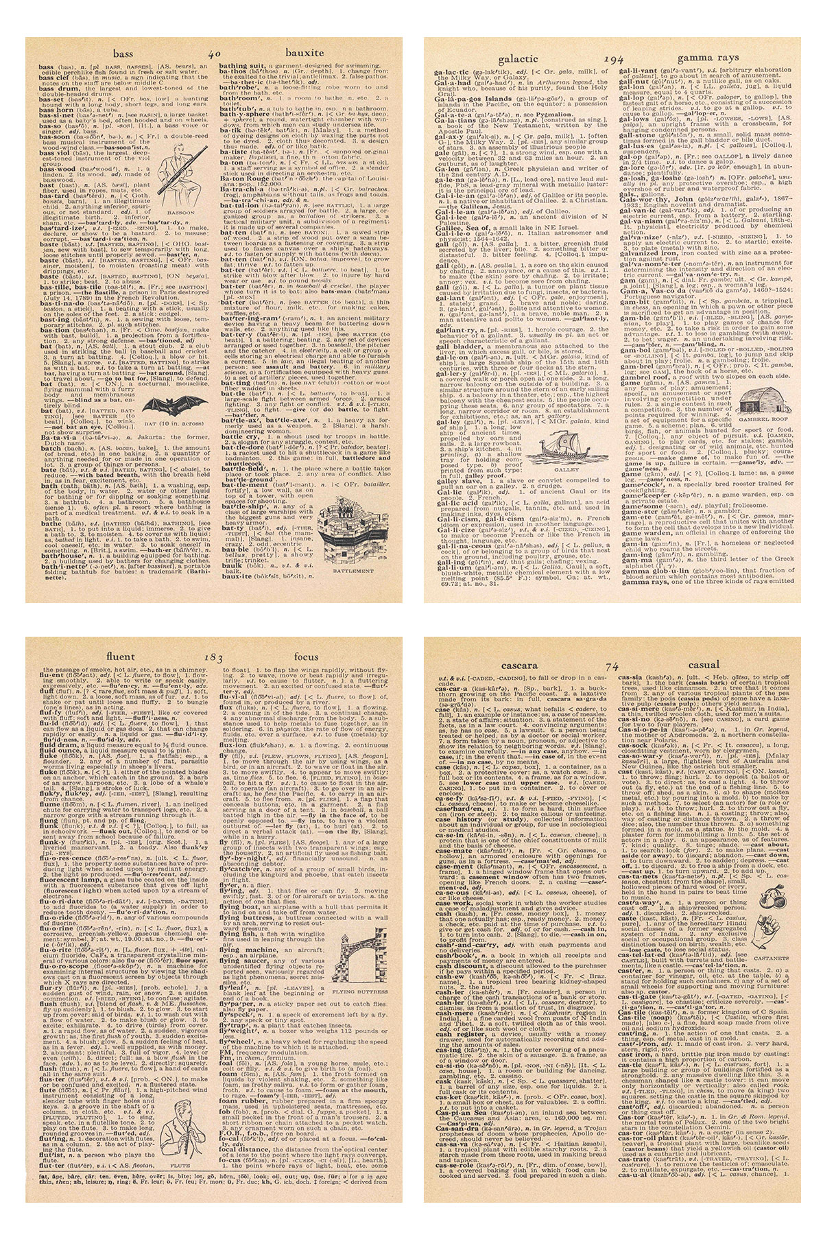 Vintage Dictionary Pages with Illustrations