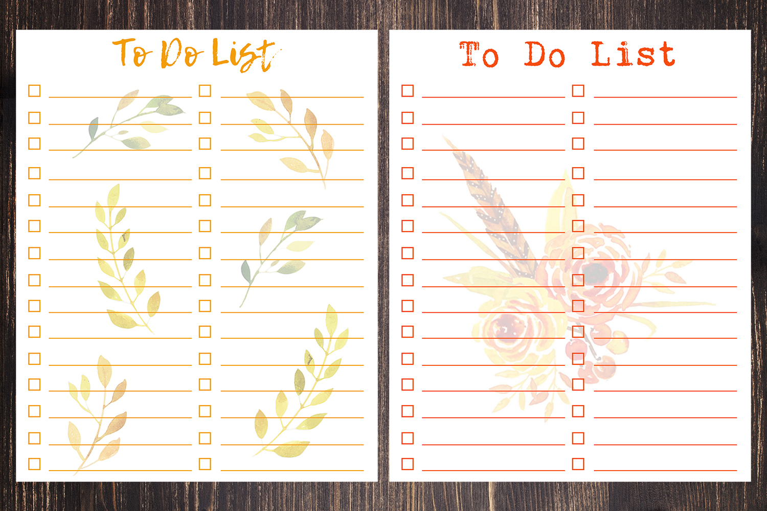 8 x 10 Free Printable Two Column To Do Lists