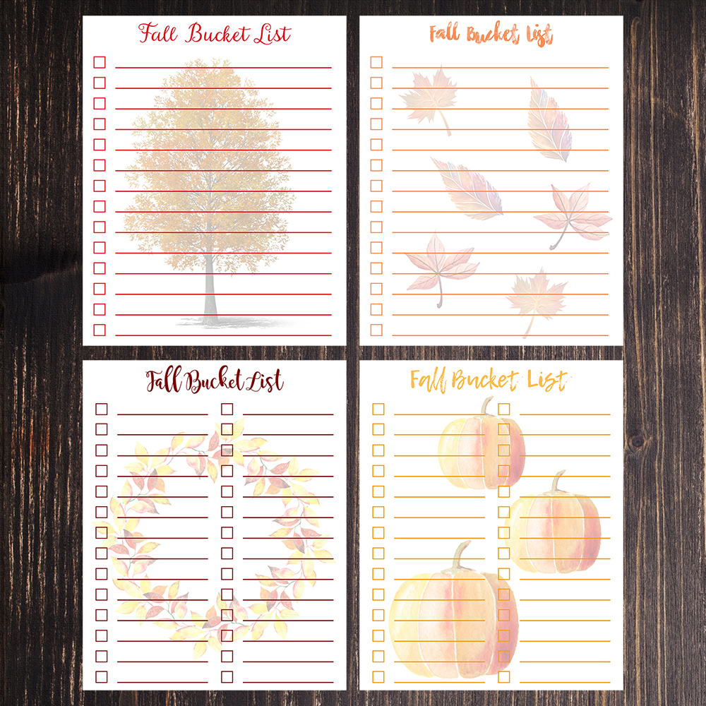 8 x10 Free Printable Fall Bucket Lists