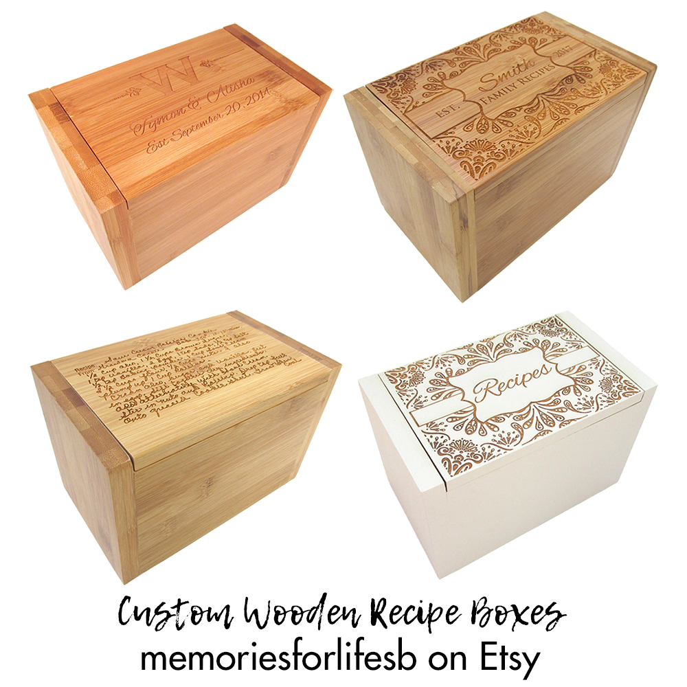 Edi memoriesforlife on Etsy Custom Wooden Engraved Recipe Boxes