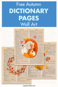 Free Autumn Dictionary Pages Wall Art