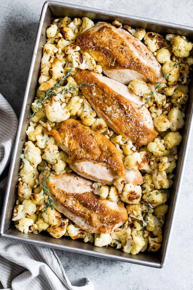 Parmesan Roasted Cauliflower and Chicken Sheet Pan Dinner Snixy Kitchen