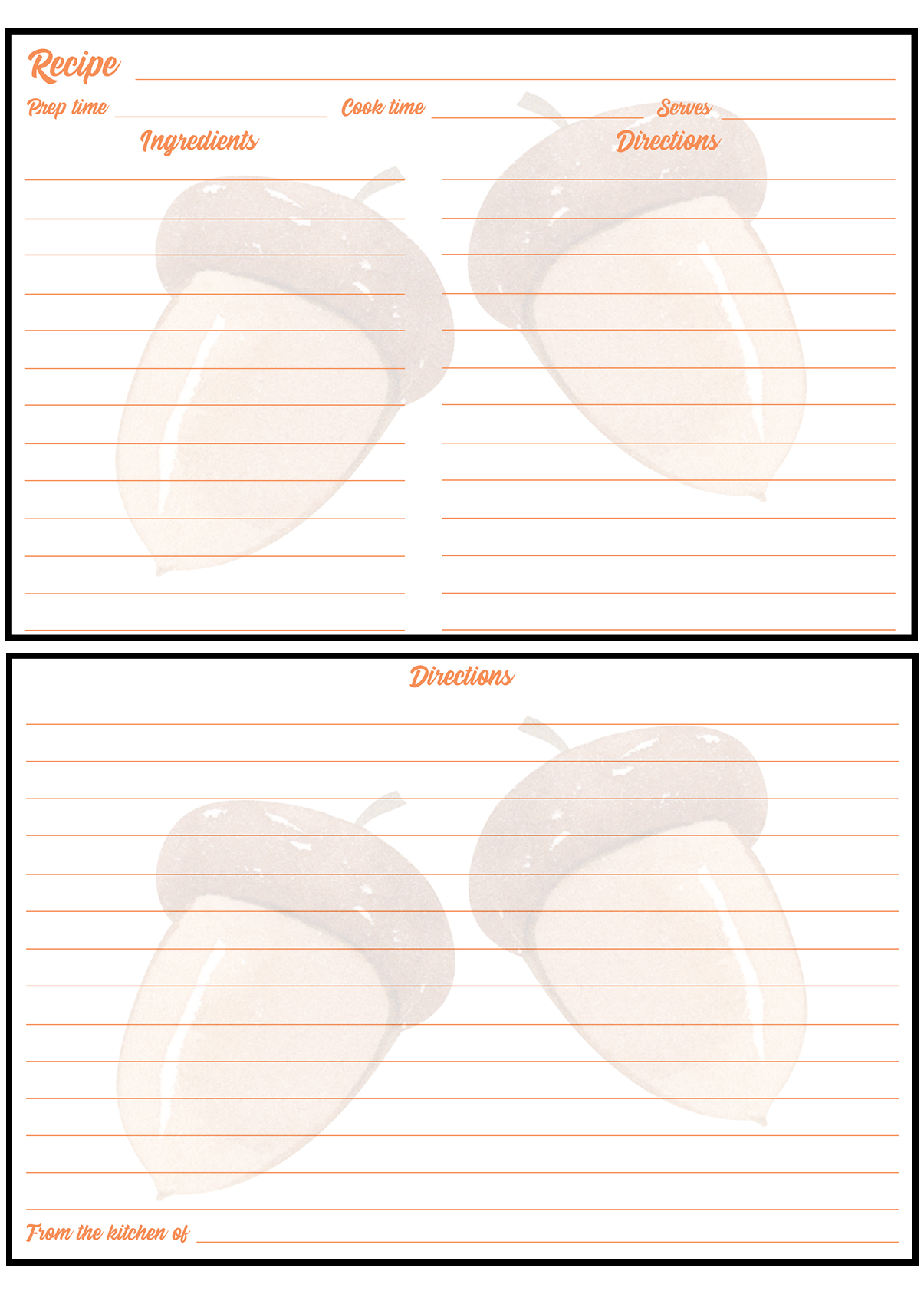 Printable Fall Recipe Card 4x6 Acorns