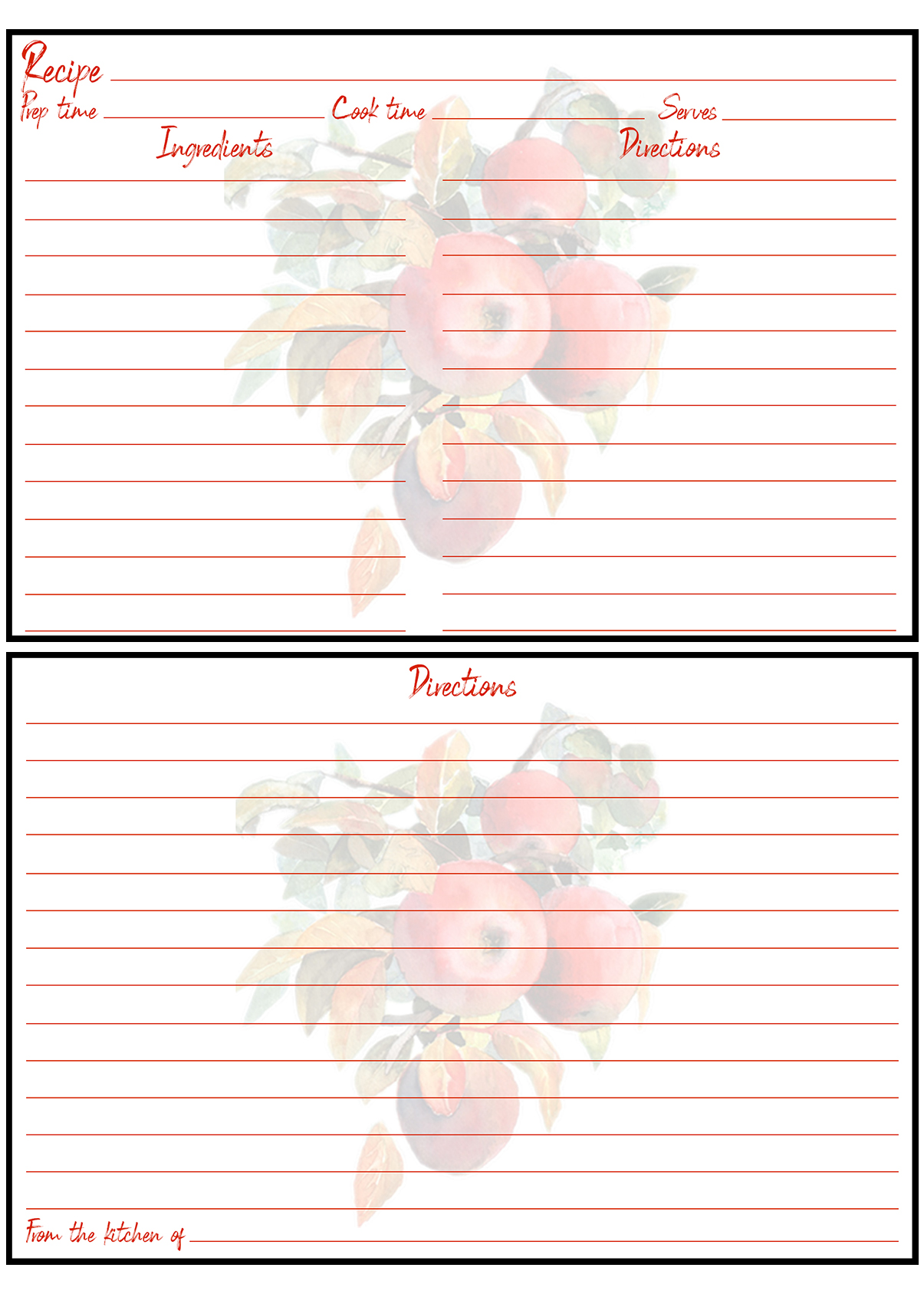 Printable Fall Recipe Card 4x6 Apples