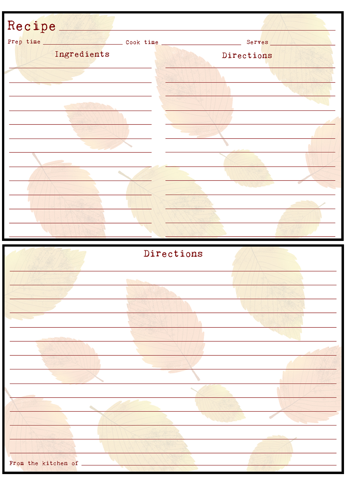 Printable Fall Recipe Card 4x6 Leaves