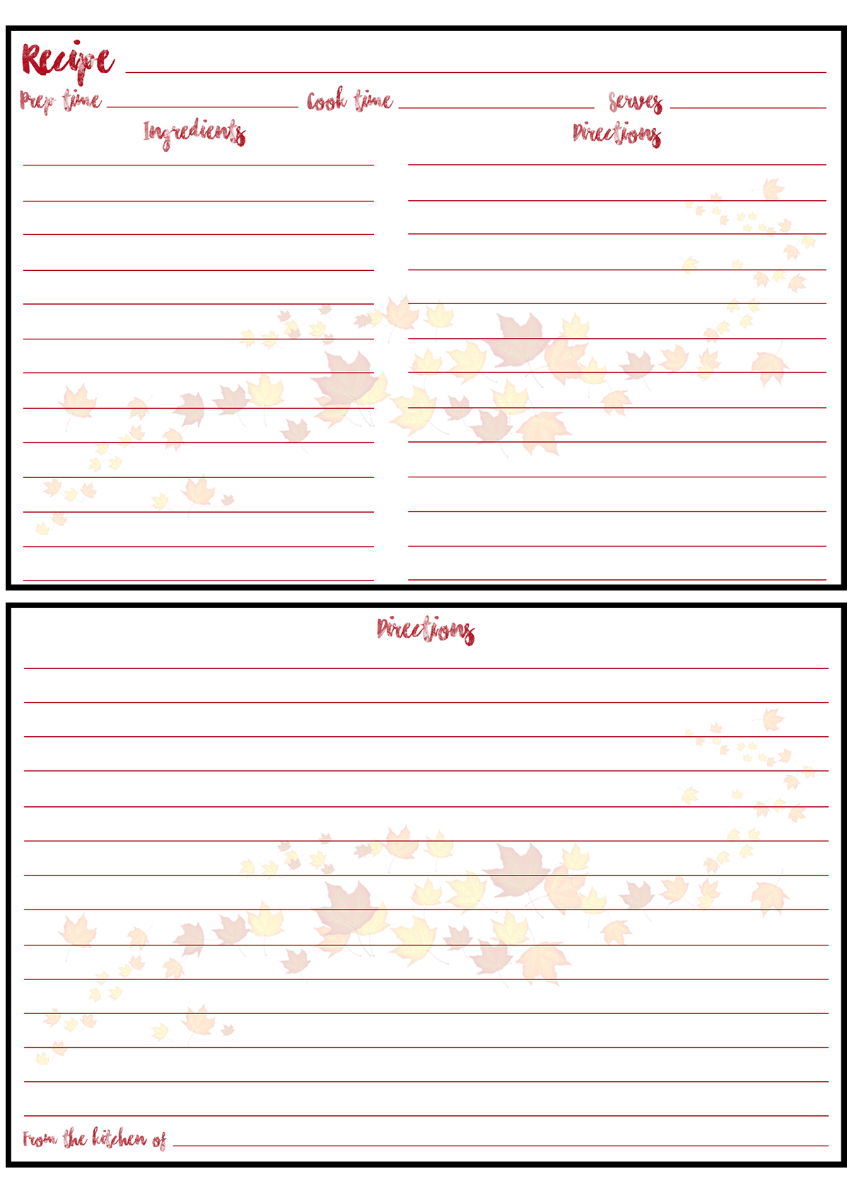 Printable Fall Recipe Card 4x6 Scattered Leaves
