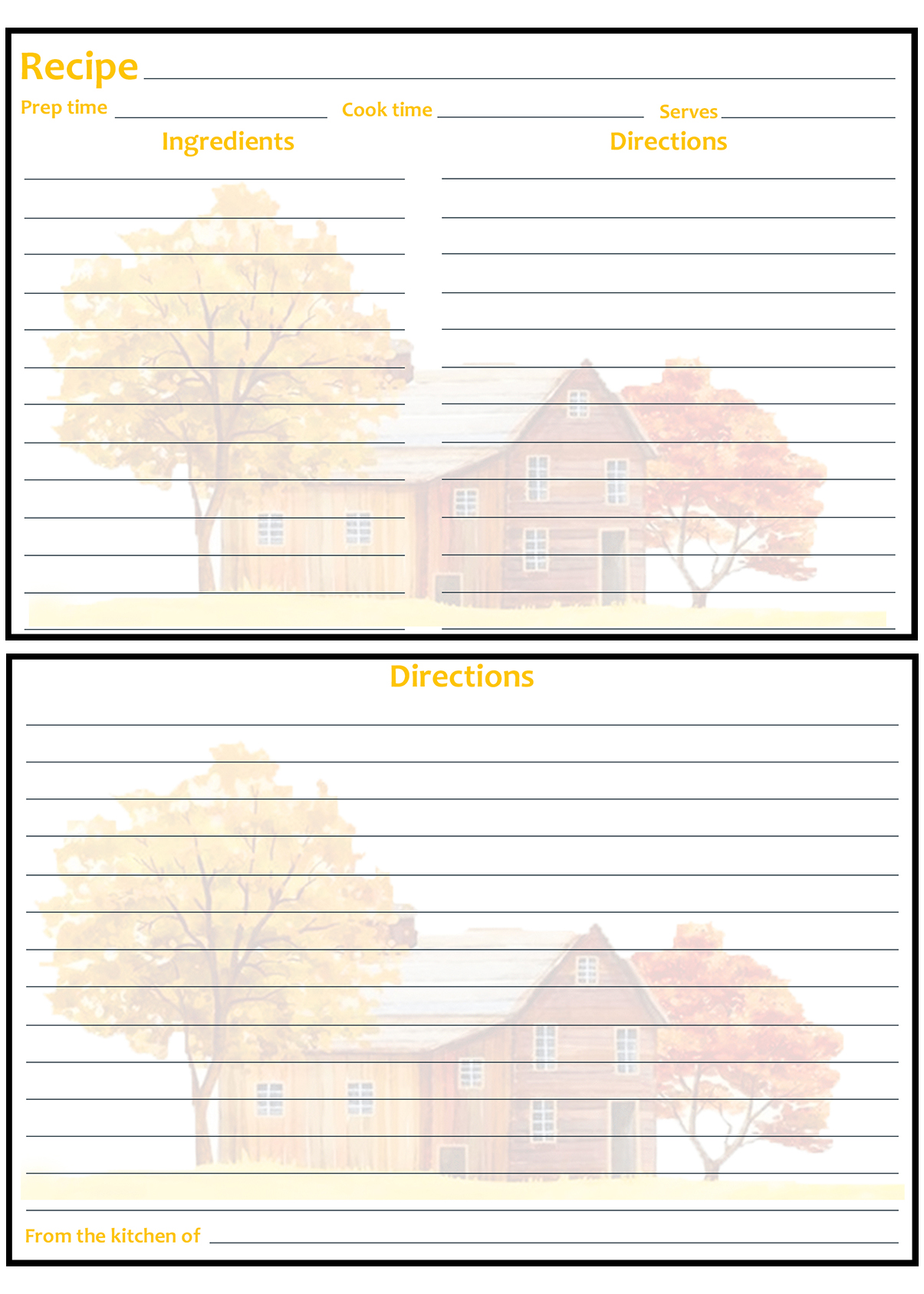 Printable Fall Recipe Card 4x6 Trees with Farmhouse