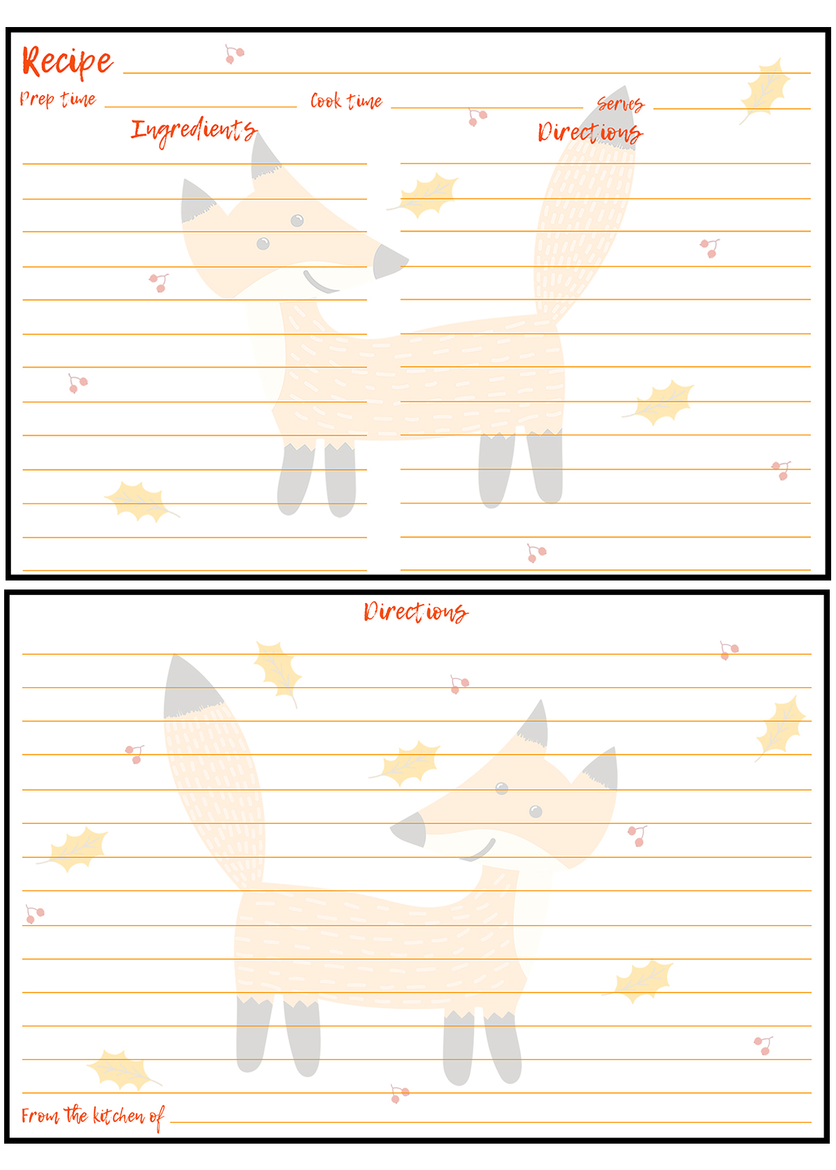 Printable Fall Recipe Card Fox