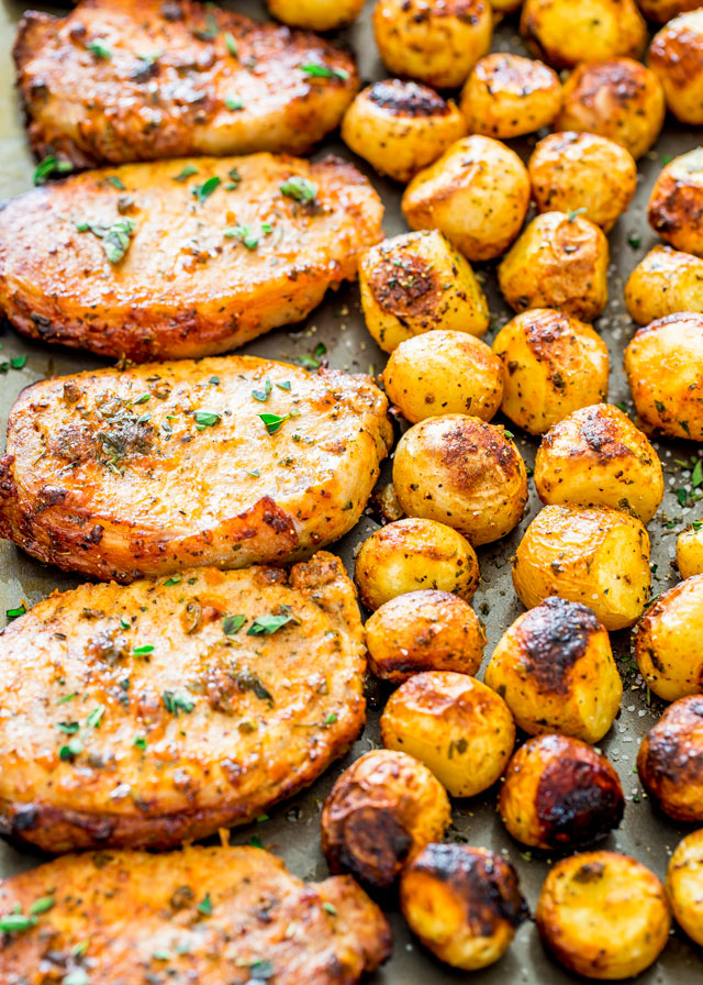 Ranch Pork Chops and Potatoes Sheet Pan Dinner Jo Cooks