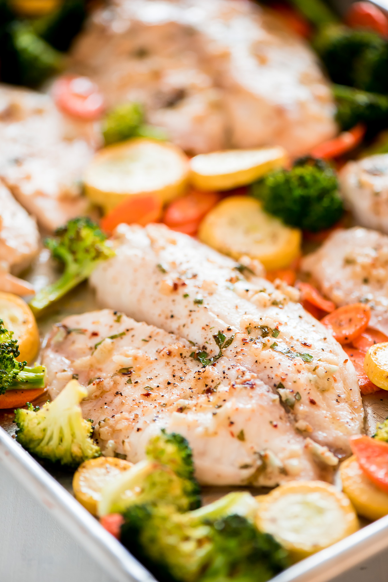 Sheet Pan Baked Tilapia and Roasted Vegetables Garnish and Glaze