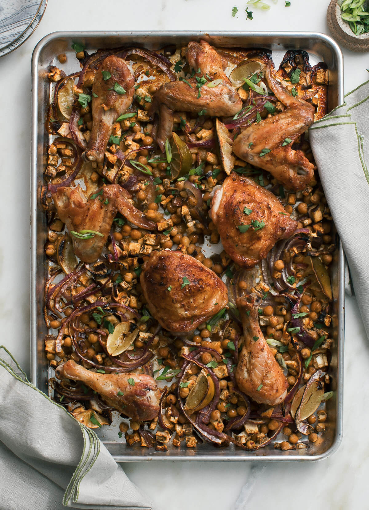 Sheet Pan Harissa Chicken with Chickpeas and Eggplant A Cozy Kitchen