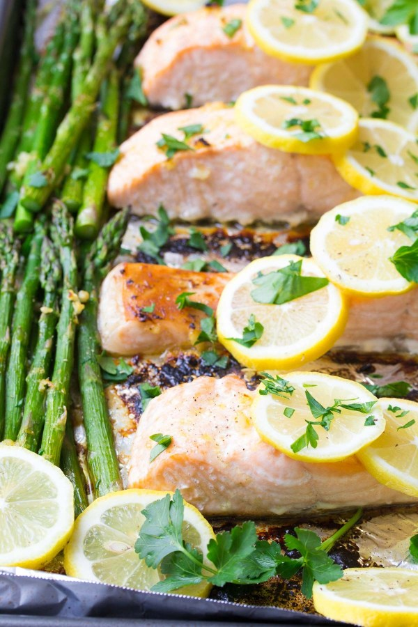 Sheet Pan Lemon Garlic Salmon and Asparagus
