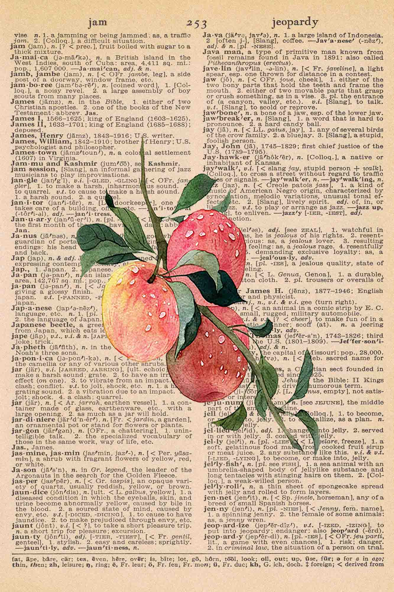 Vintage Dictionary Page Printable Fall Apples