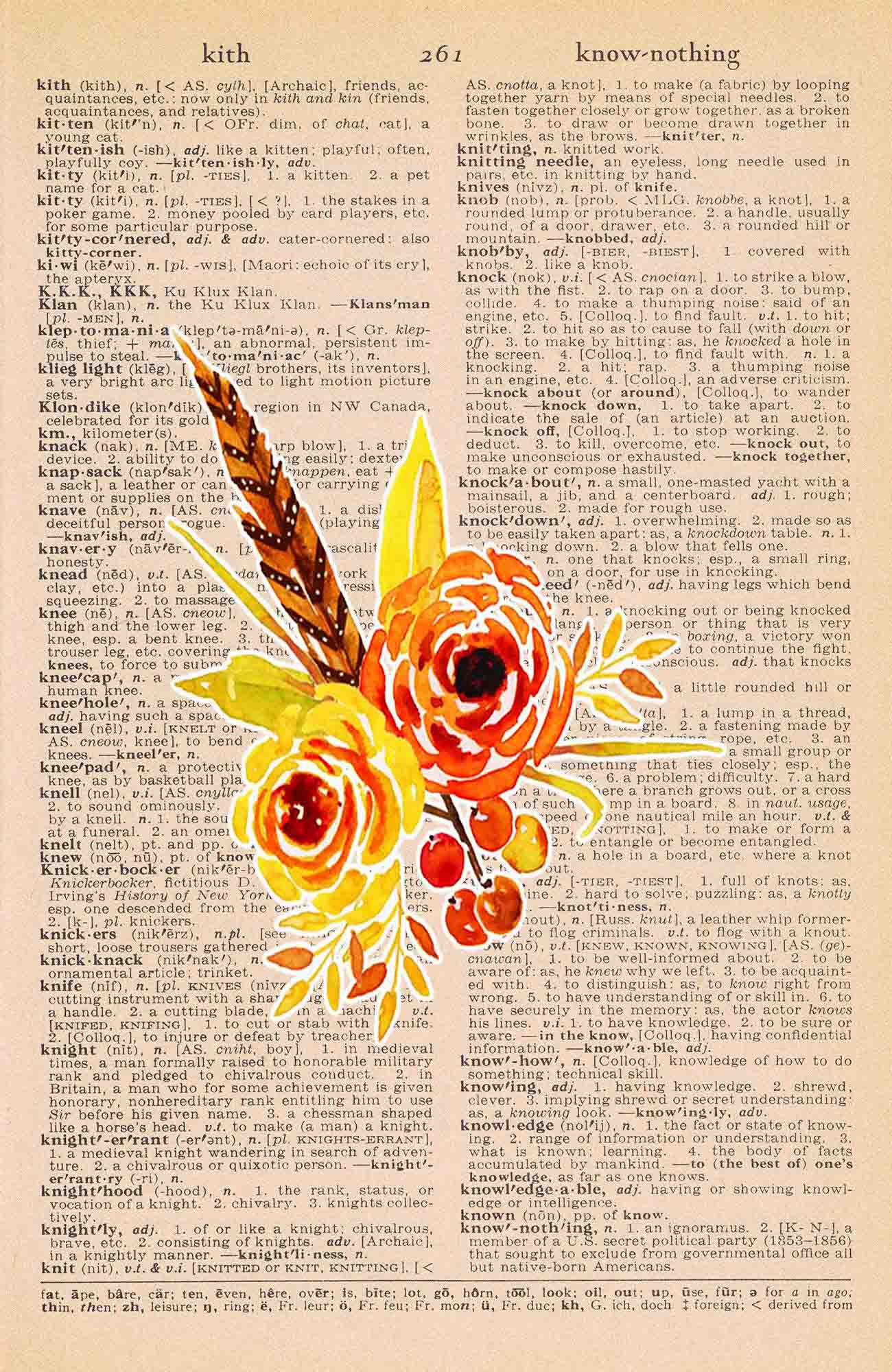 Vintage Dictionary Page Printable Autumn Flowers