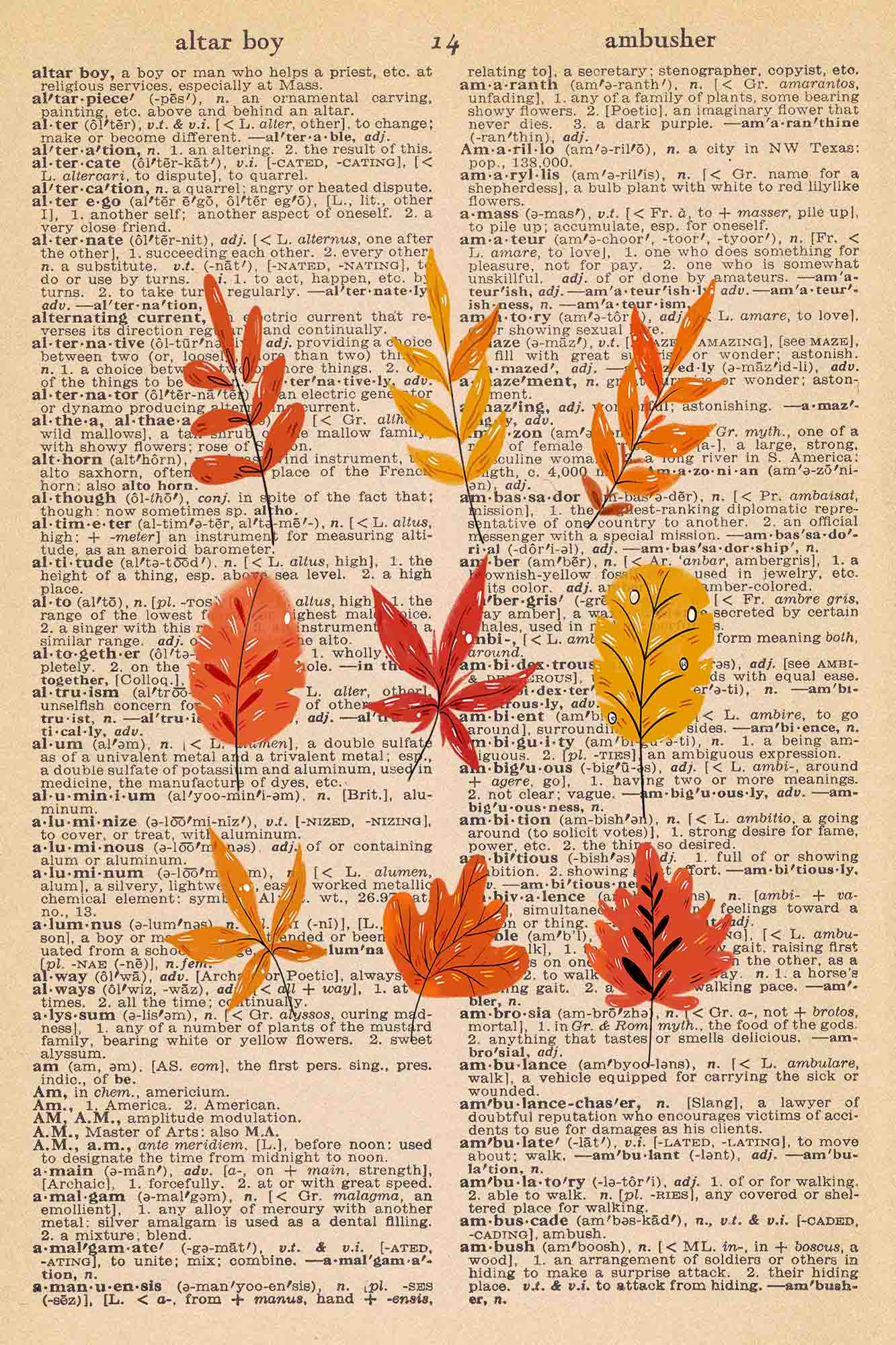 Vintage Dictionary Page Printable Autumn Leaves