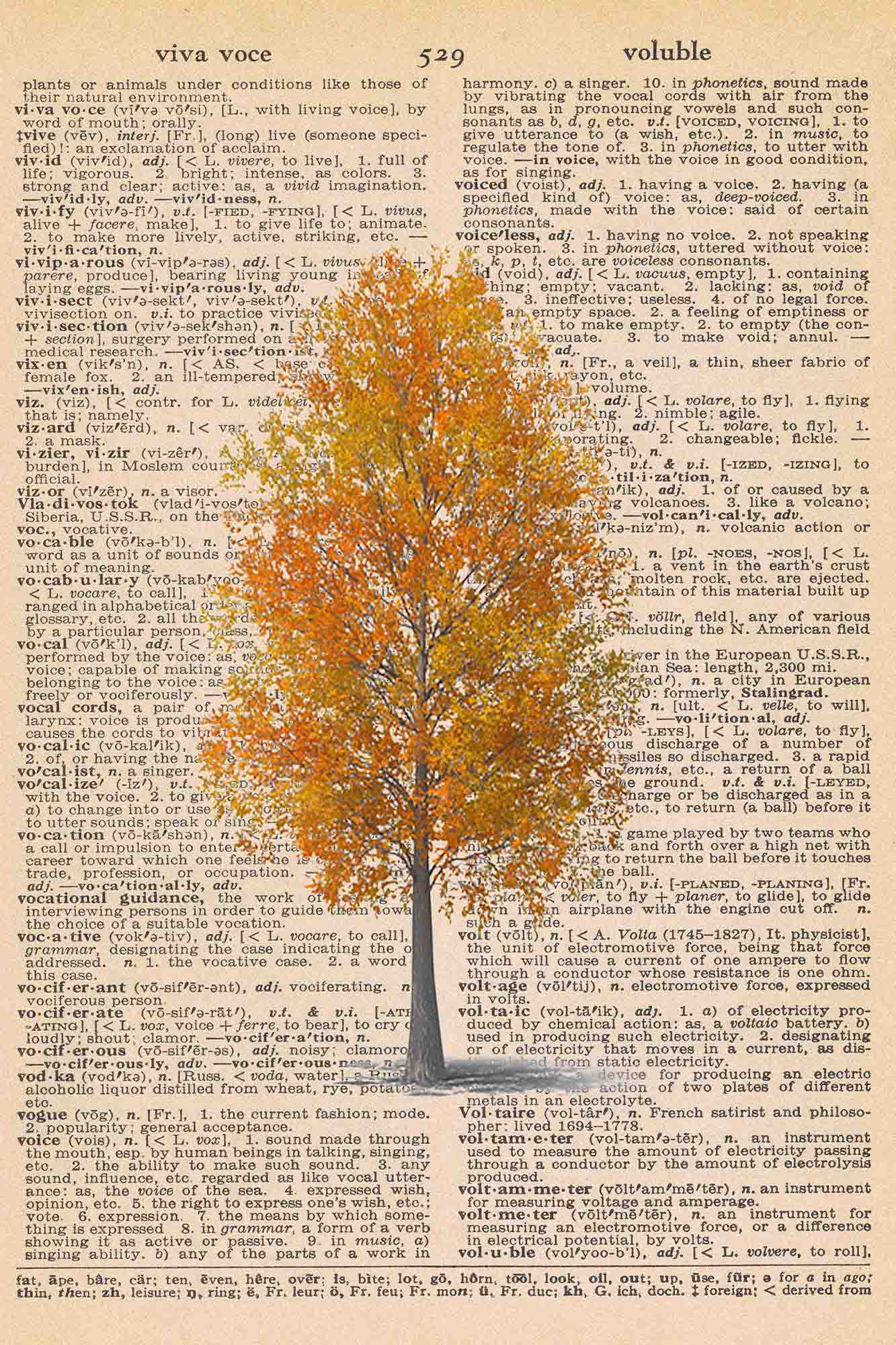 Vintage Dictionary Page Printable Autumn Tree