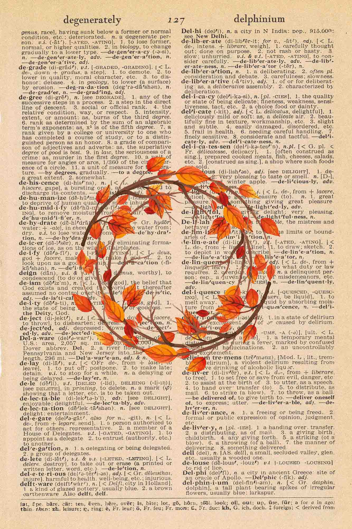 Vintage Dictionary Page Printable Autumn Wreath