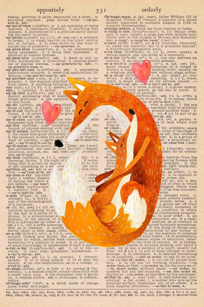 Vintage Dictionary Page Fall Printable Mother and Baby Fox