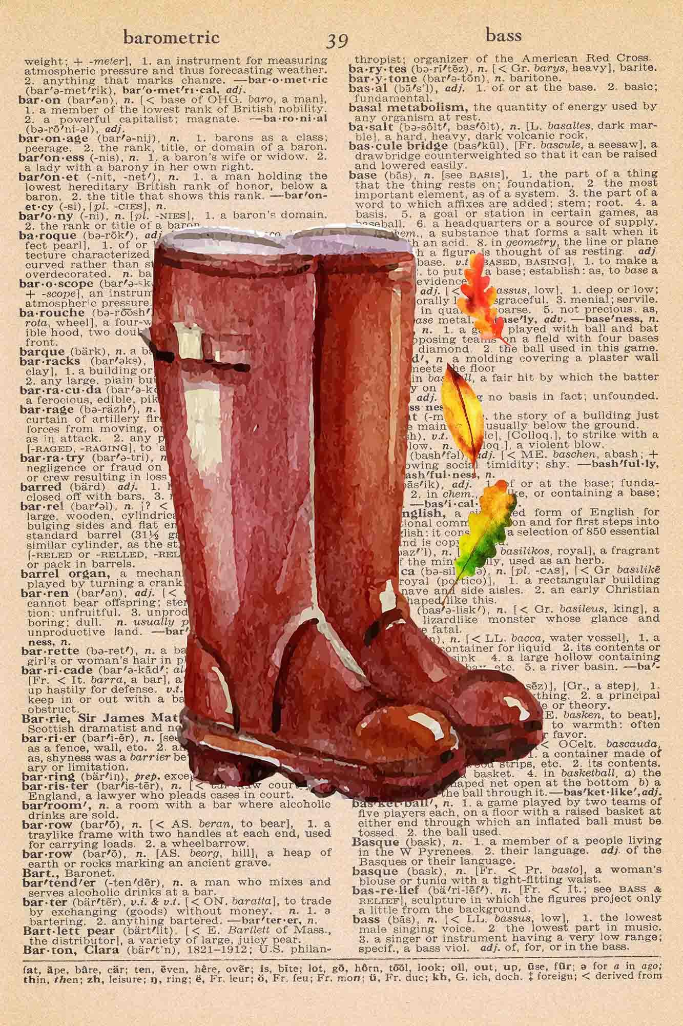 Vintage Dictionary Page Printable Rain Boots