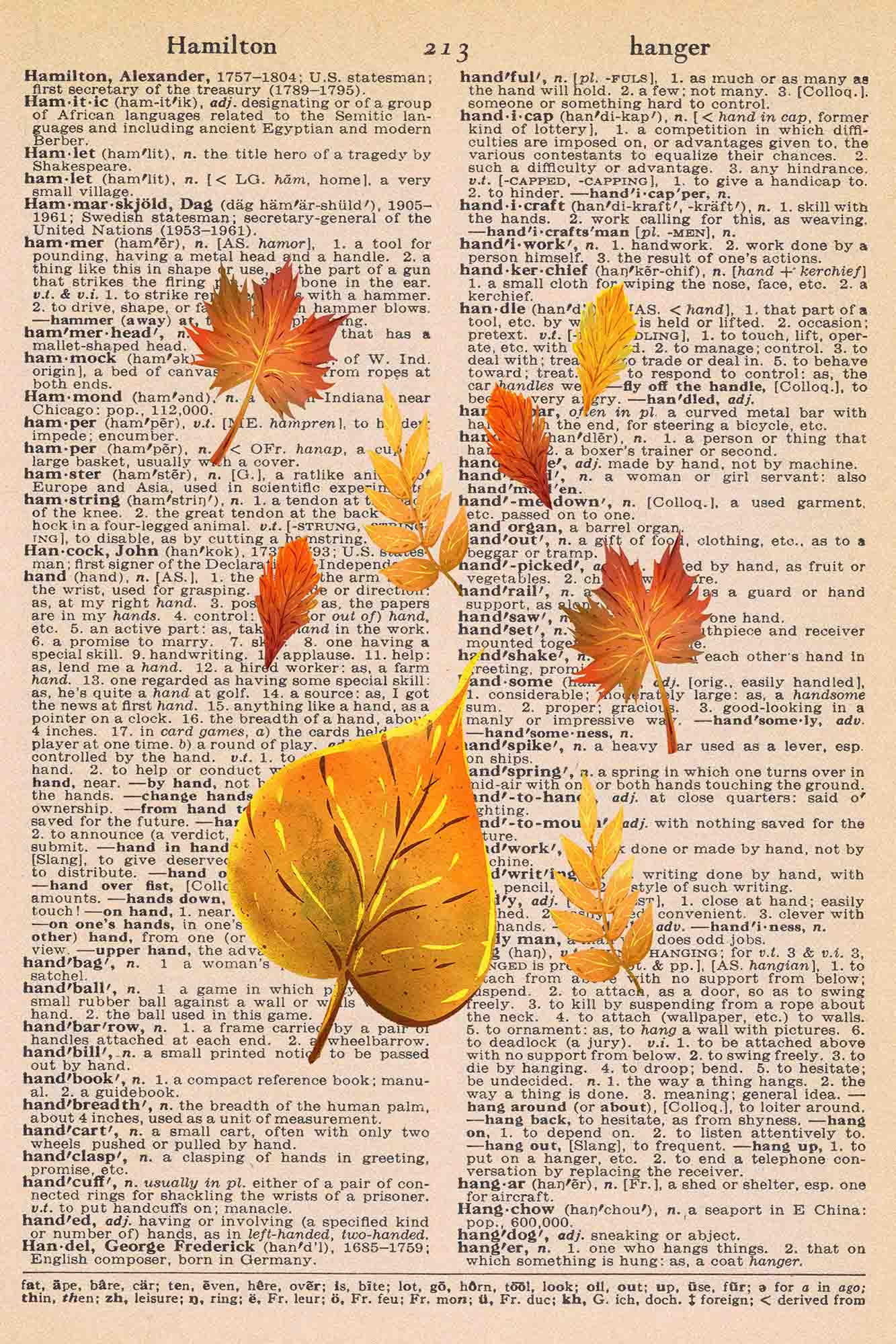 Vintage Dictionary Page Printable Scattered Autumn Leaves