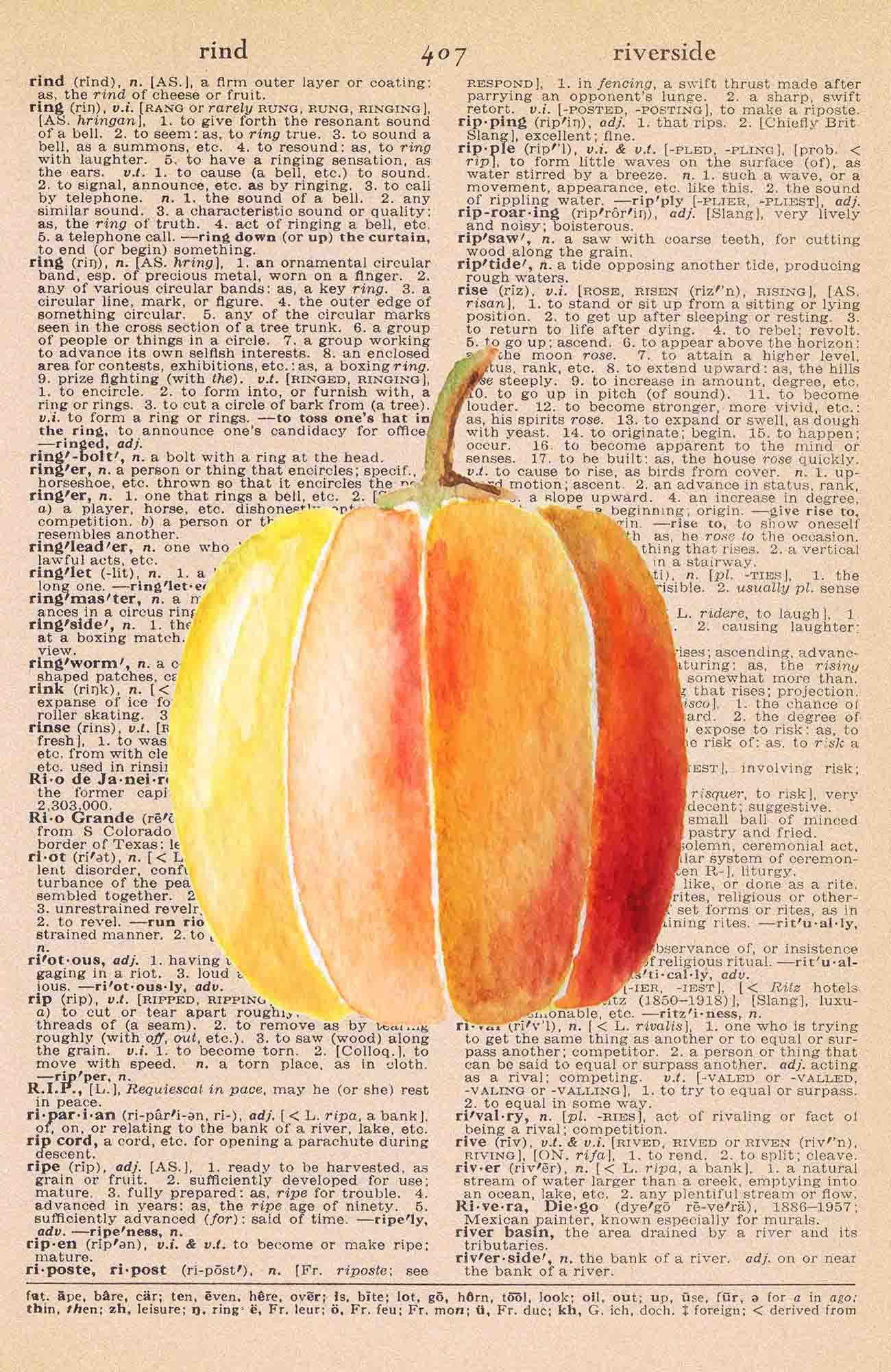 Vintage Dictionary Page Printable Watercolor Pumpkin