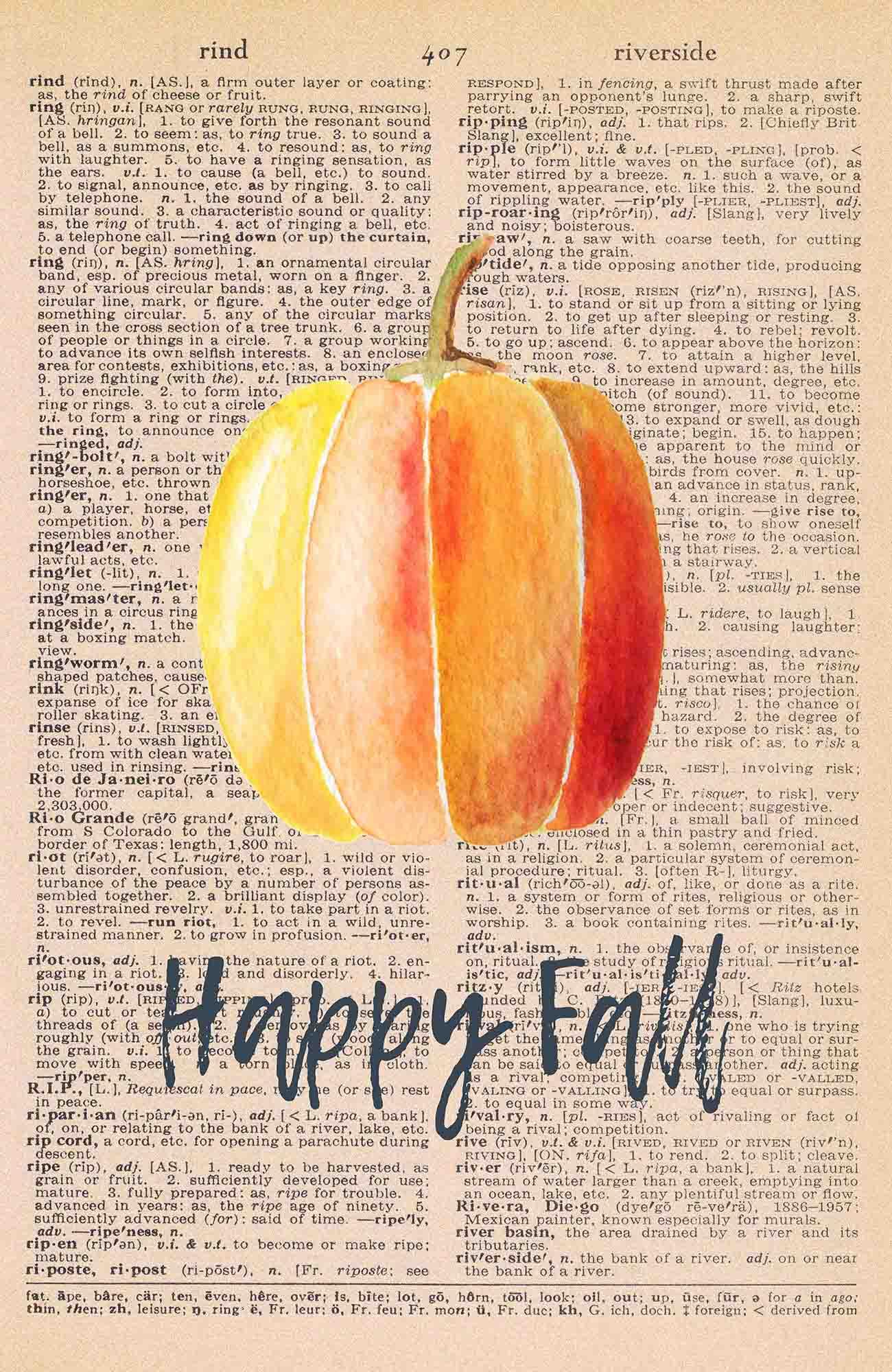 Vintage Dictionary Page Printable Watercolor Pumpkin Happy Fall