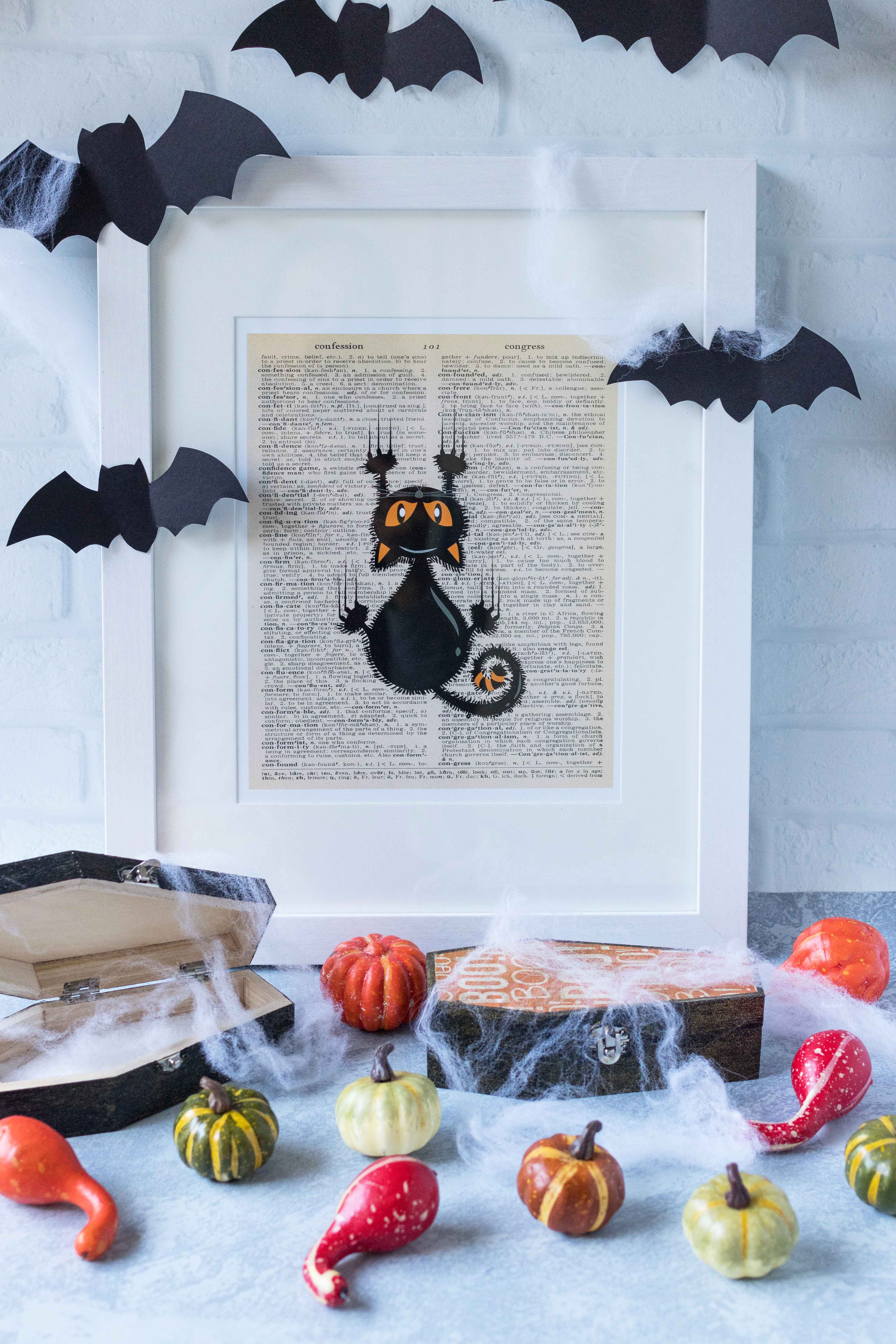 Free Halloween Dictionary Page Printables Framed Black Cat