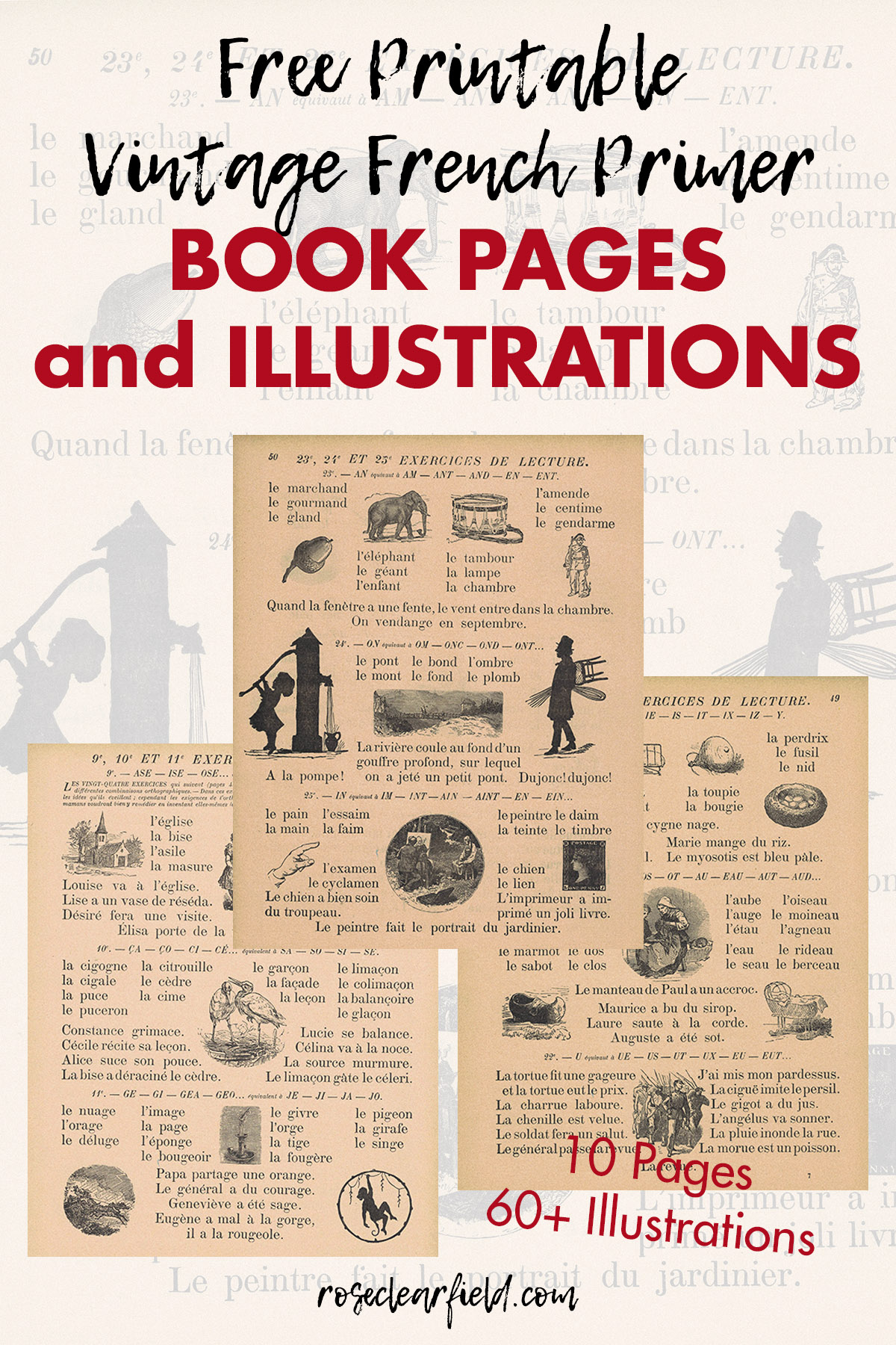 Free Vintage French Primer Book Pages And Illustrations Rose Clearfield