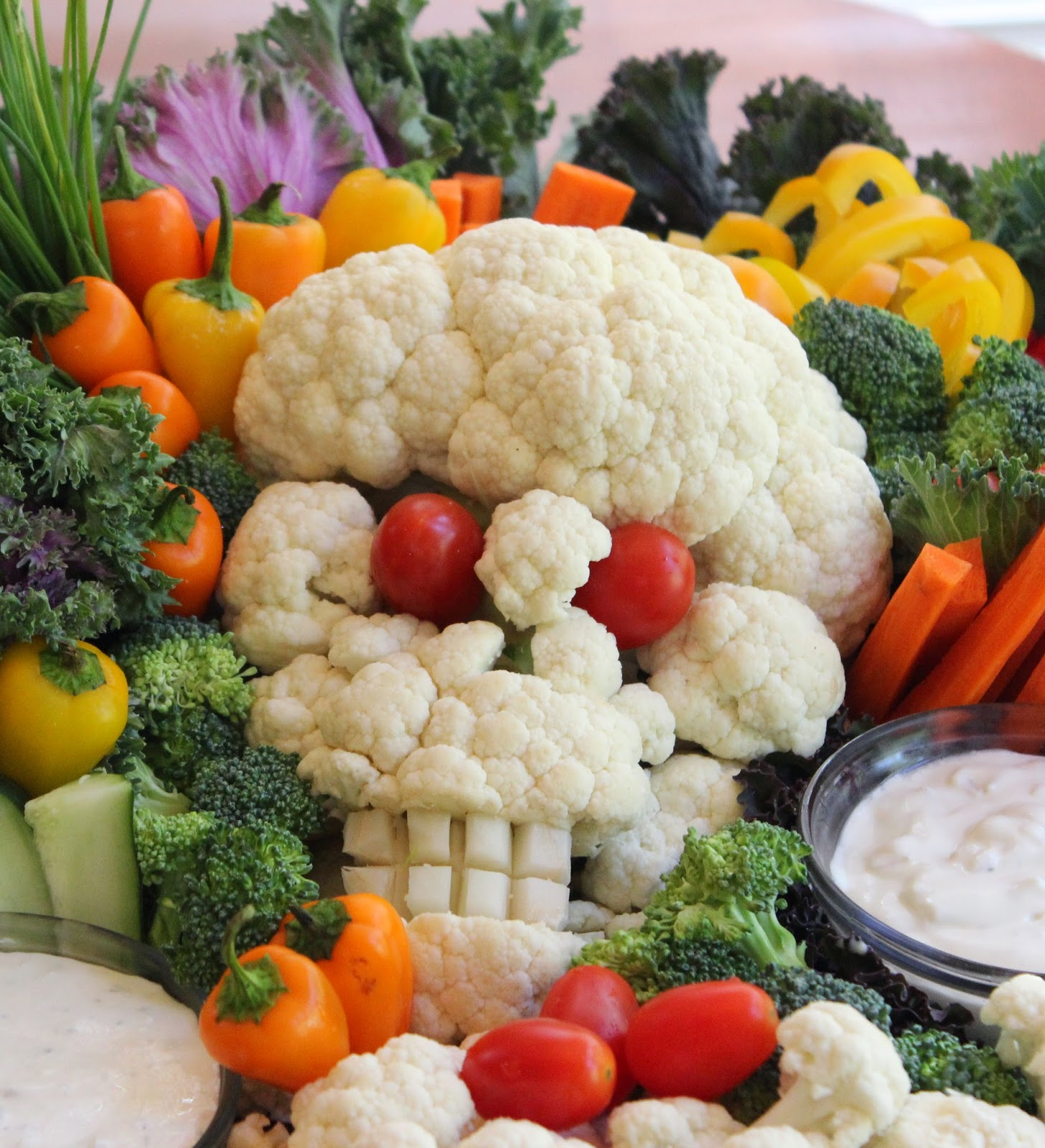 Halloween Cauliflower Skull Veggie Platter Vegan Mom Blog