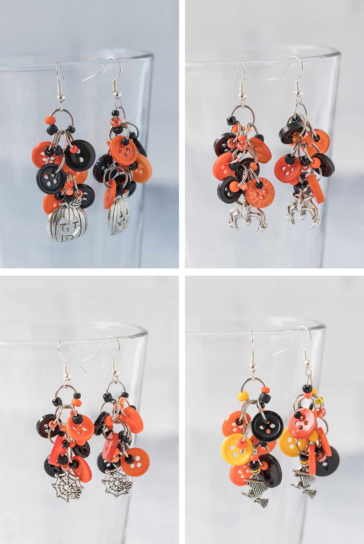 Halloween Button Dangle Earrings Collage