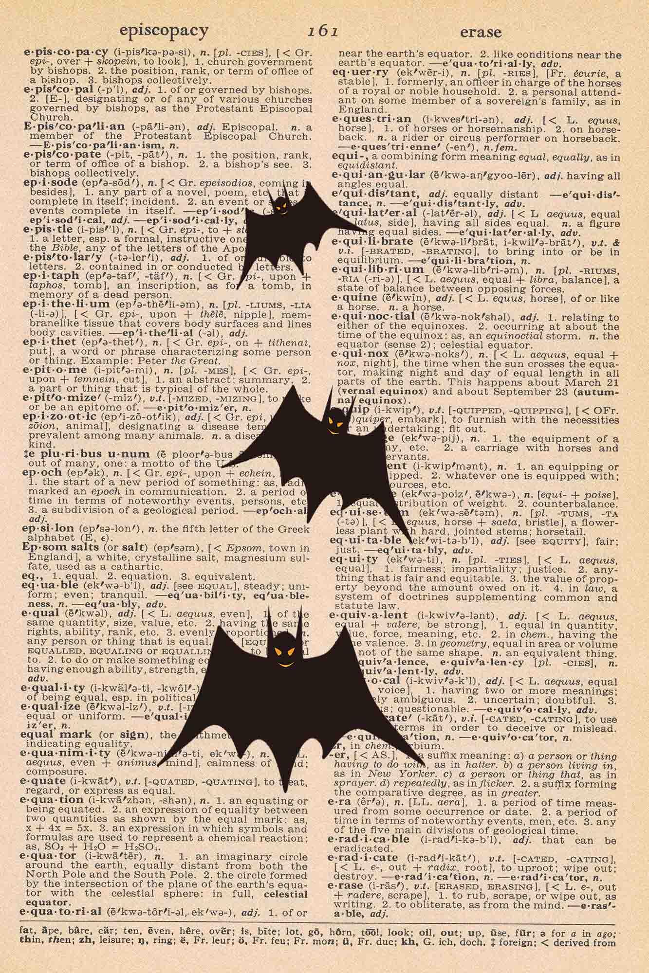 Halloween Vintage Dictionary Page Printable Bats