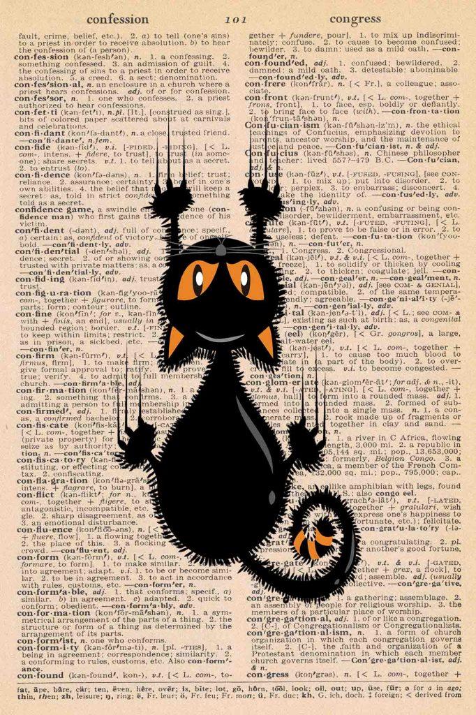 Halloween Vintage Dictionary Page Printable Black Cat