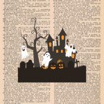 Halloween Vintage Dictionary Page Printable Classic Halloween Scene