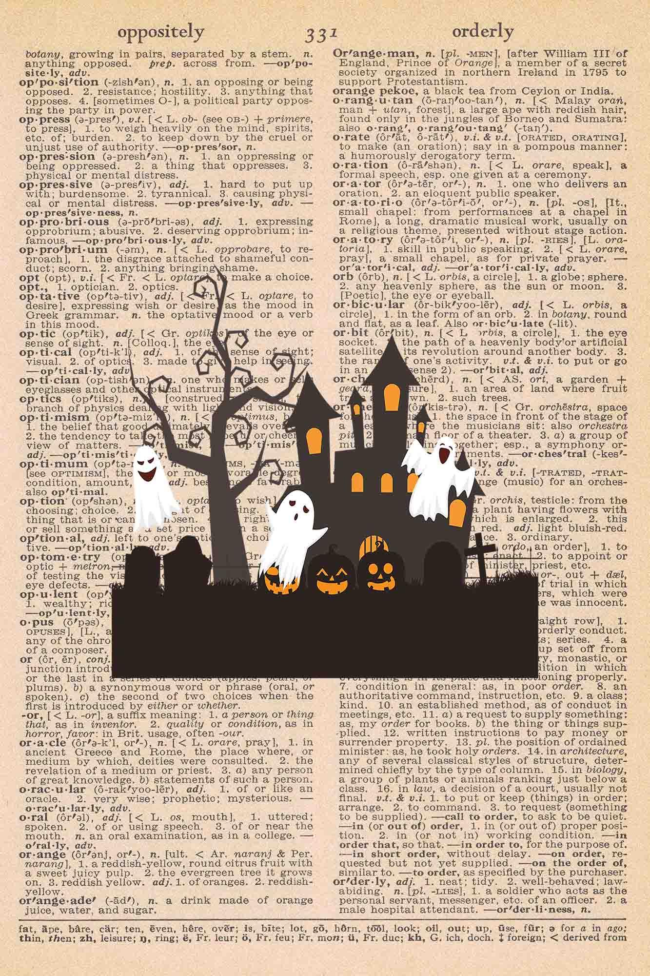 Halloween Vintage Dictionary Page Printable Classic Halloween Scene