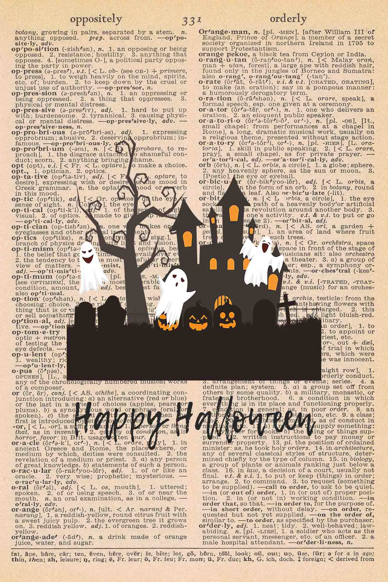 Halloween Vintage Dictionary Page Printable Classic Halloween Scene with Text