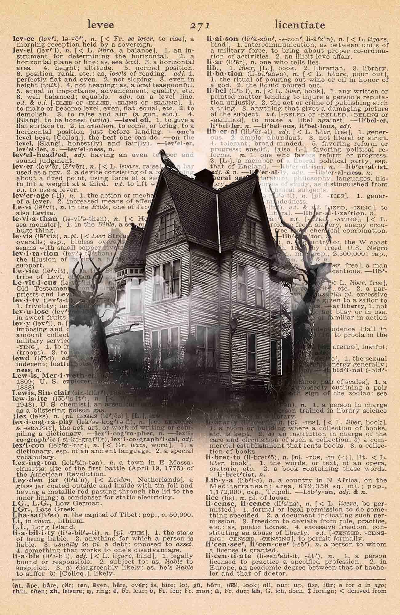 Halloween Vintage Dictionary Page Printable Creepy House