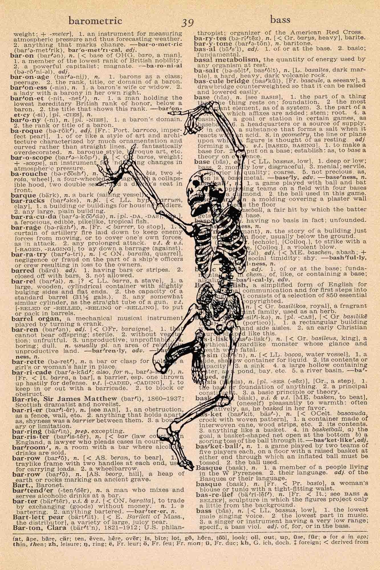 Halloween Vintage Dictionary Page Printable Dancing Skeleton