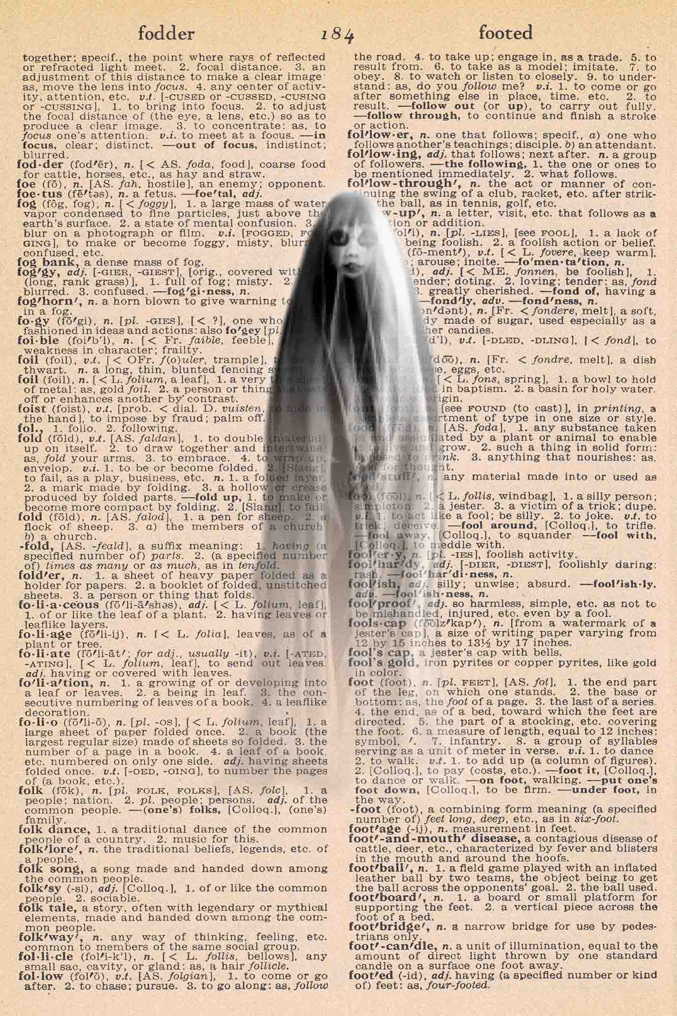 Halloween Vintage Dictionary Page Printable Ghost
