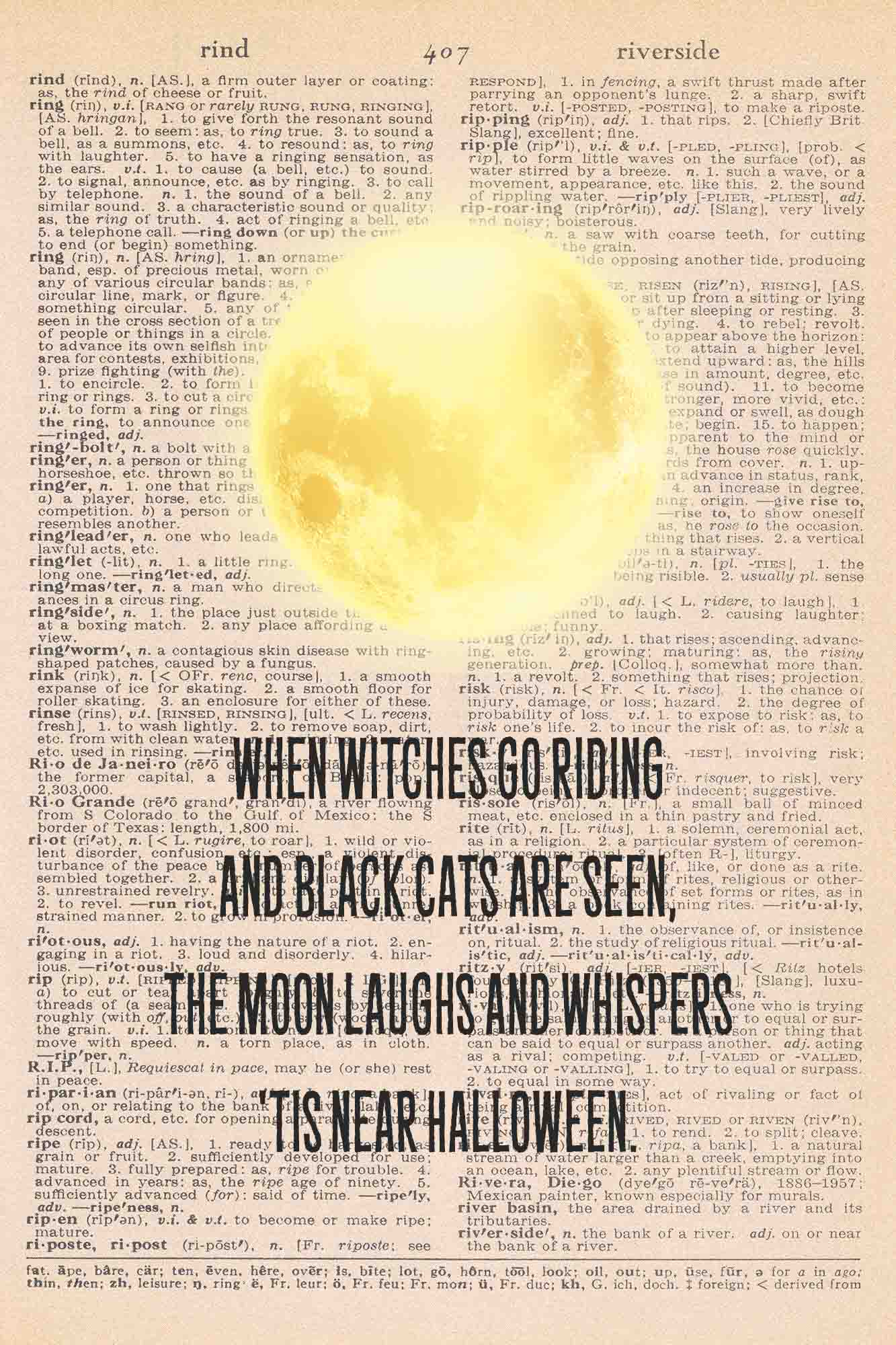 Halloween Vintage Dictionary Page Printable Moon with Halloween Quote