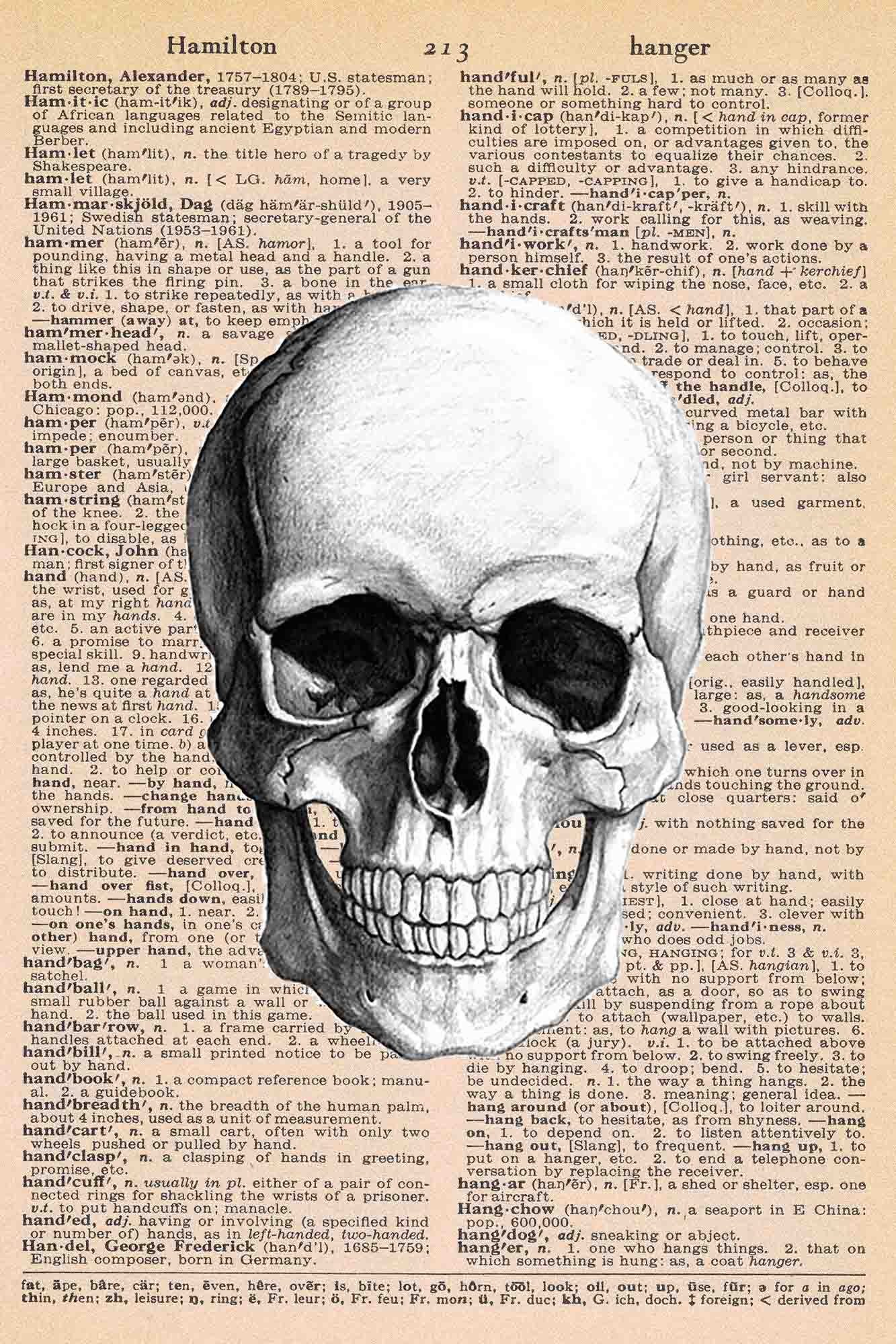 Halloween Vintage Dictionary Page Printable Skull 4x6 Preview Rose Clearfield