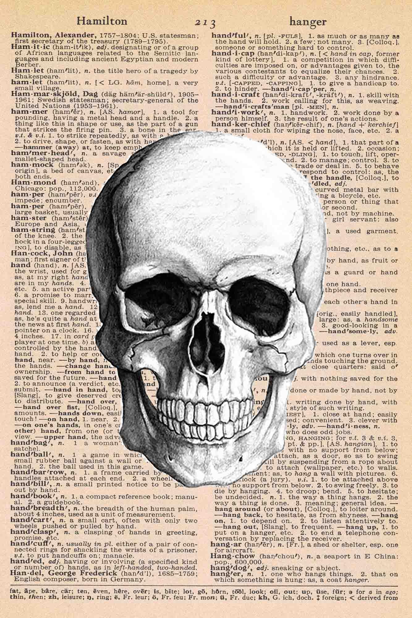 Halloween Vintage Dictionary Page Printable Skull