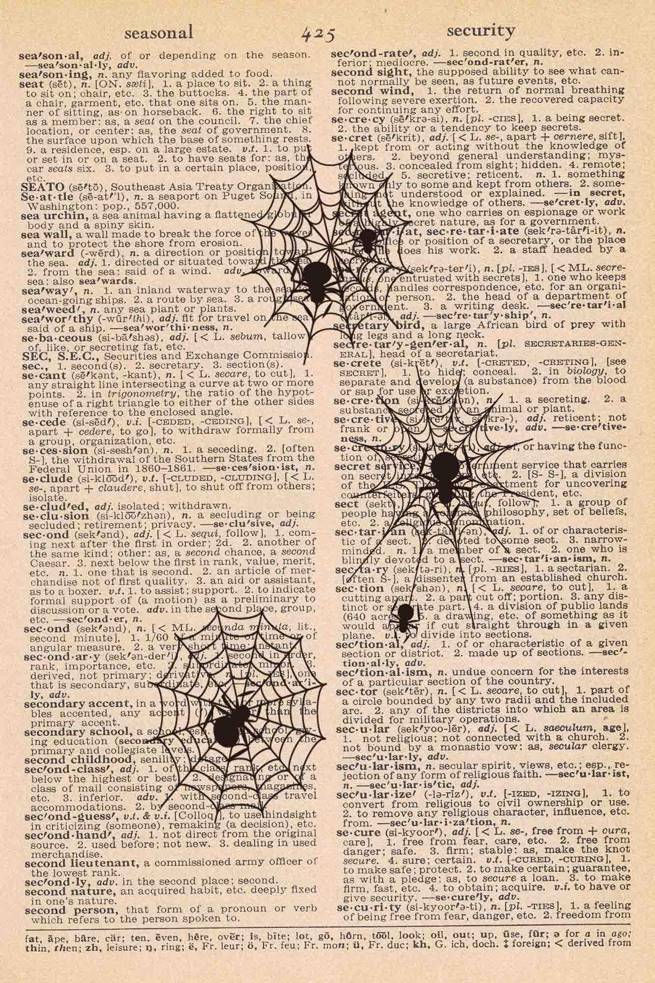 Halloween Vintage Dictionary Page Printable Spiderwebs