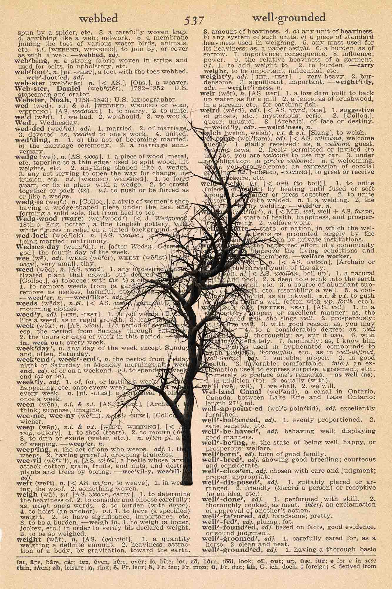 Halloween Vintage Dictionary Page Printable Spooky Bare Tree