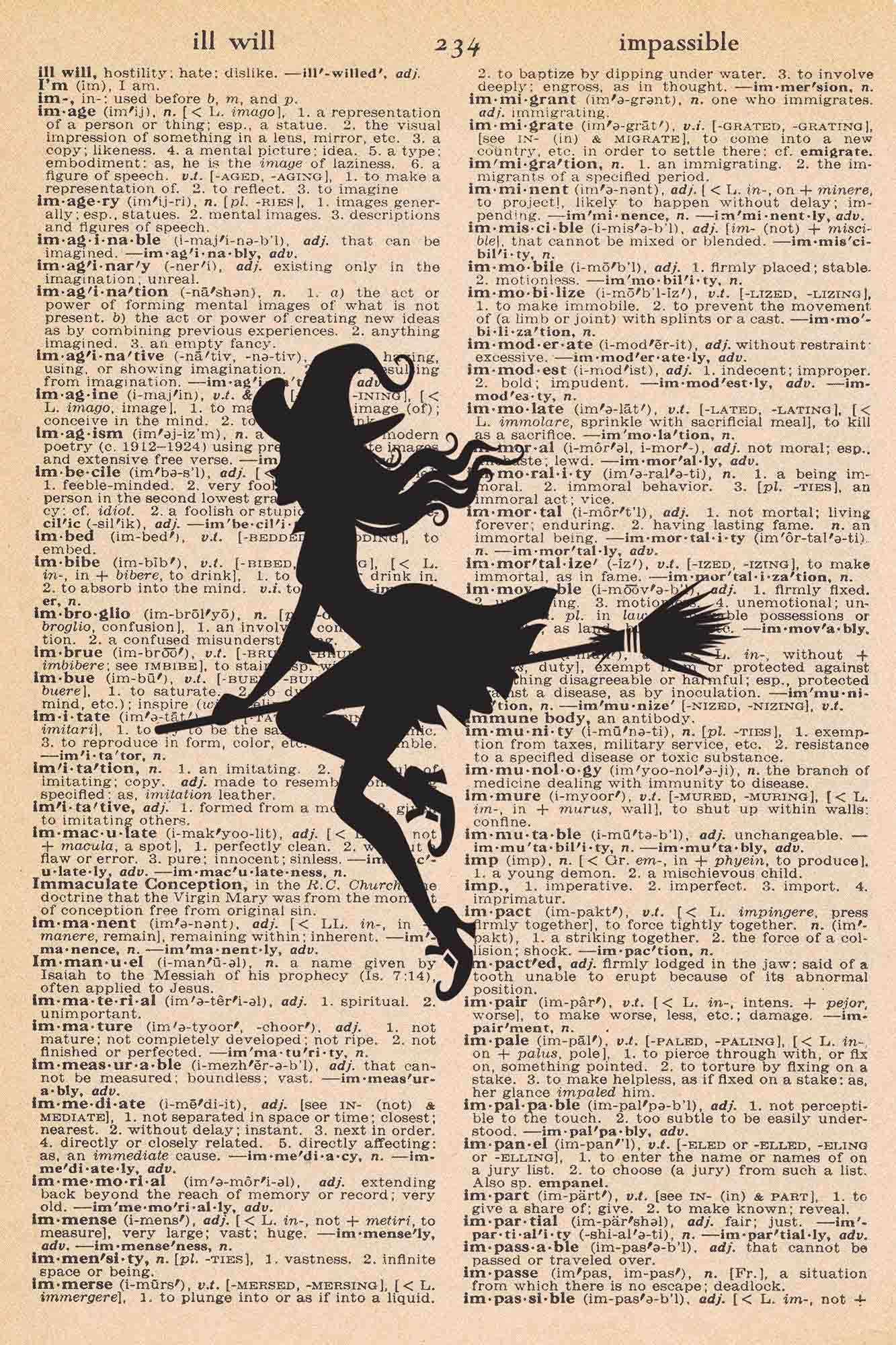 Halloween Vintage Dictionary Page Printable Witch