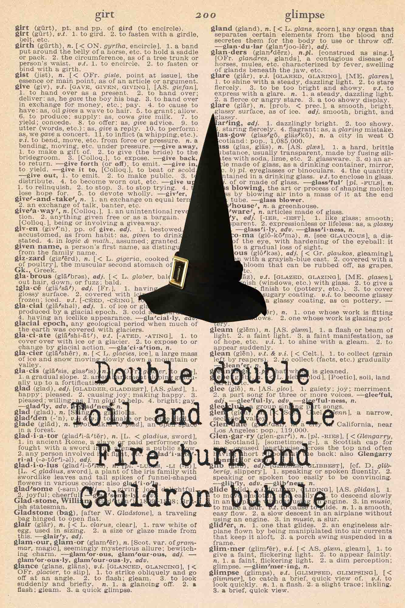 Halloween Vintage Dictionary Page Printable Witches Hat Macbeth Quote