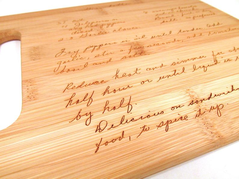 Handwritten Recipe Engraved Cutting Board memoriesforlifesb on Etsy