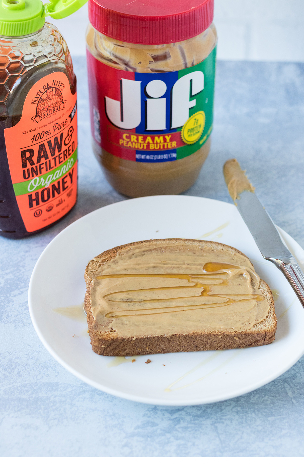 Whole Grain Toast with Peanut Butter and Honey