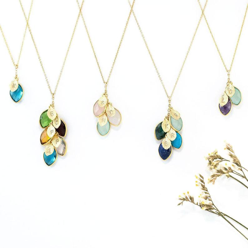 Leaves Birthstone Initial Necklace delezhen on Etsy