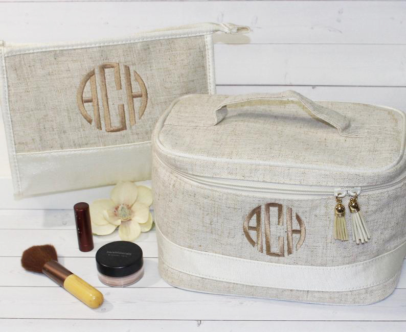 Monogram Makeup Bag and Train Case Set happythoughtsgifts on Etsy