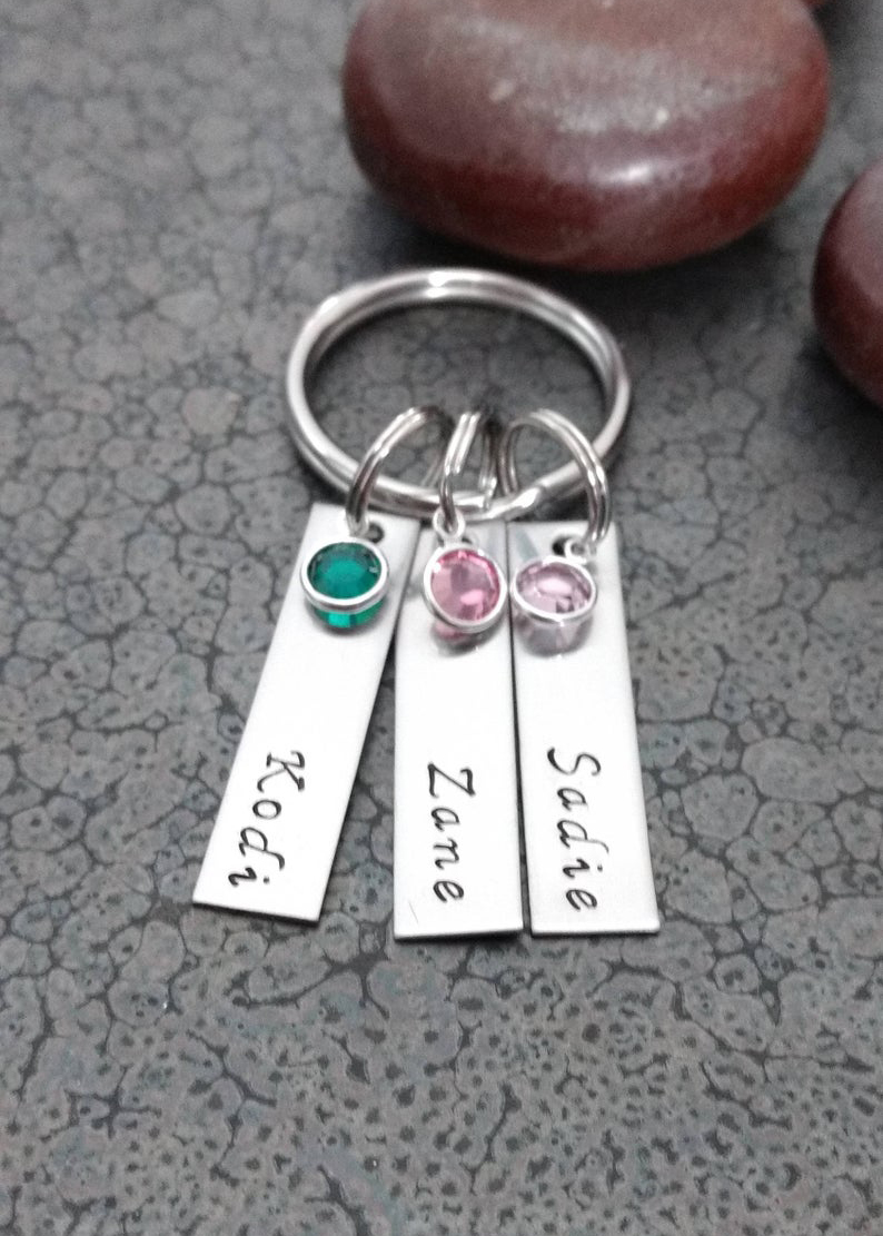Personalized Birthstone Keychain DawnsMetalDesigns on Etsy
